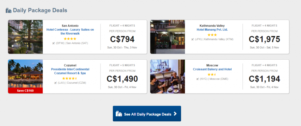 Travelocity Canada Daily Deals